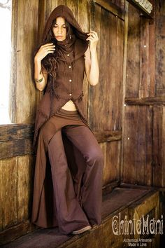 Chocolate Brown Clash Pants Skirt for Dance by ChintamaniAlchemi