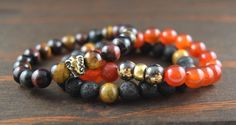 Lotus And Lava Men's Triple Stack - Tiger Eye For Focus - Elephant for Longevity and Loyalty - Carnelian For Optimism - Lava For Stability by lotusandlava on Etsy