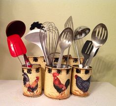 Rooster Kitchen Storage. Kitchen Decor..Country Kitchen...Country Home..Rooster Lover.Housewarming  Gift..Prim  Country Kitchen