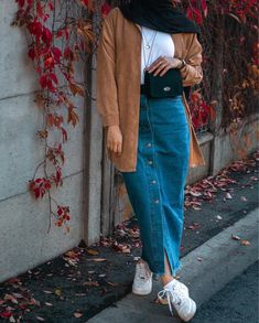 Shop Jupe en jean from HI Mode in Skirts, available on Tictail from in Taille XS Taille S Taille M Taille L Modern Hijab Fashion, Street Hijab Fashion, Hijab Fashion Inspiration, Muslim Fashion, Modest Fashion, Jojo Fashion, Islamic Fashion, Fashion Shoes, Fashion Ideas