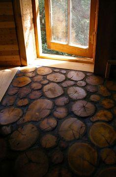 suelo de rodajas de madera / log slice floor