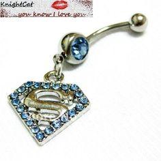 Navel Belly Button Ring Piercing Body Jewelry Hot Sexy Fashion Charm Superman Logo CZ Stone 316Steel Free Shipping Xtmas 10pcs-in Body Jewelry from Jewelry on Aliexpress.com