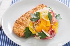 Matzoh-Crusted Chicken with Orange, Fennel & Golden Beet Salad. Visit https://www.blueapron.com/ to receive the ingredients.