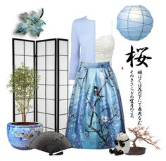 """""""Blue Bird & Cherry Blossom"""" by pat912 ❤ liked on Polyvore featuring L.K.Bennett, Nearly Natural, Miya Company, Cultural Intrigue and polyvoreeditorial"""