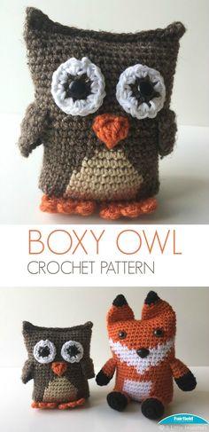 Link to free crochet pattern for Boxy Owl Amigurumi