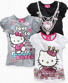 Hello Kitty Kids Shirt, Little Girls Flashy Graphic Tee