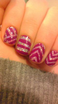 Silver and purple nail art