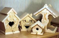 Our Birdhouse and Feeder Collection of four woodworking plans. Assorted sizes. Patterns for three whimsical bird houses and a bird feeder. Fun, functional houses that can be hung under a patio, in trees or mount to a post in the yard. Nice for tole painting and for interior decorating.