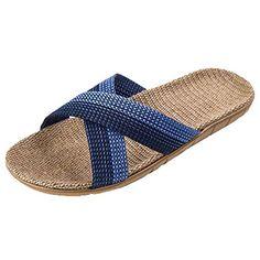 c7abd88146a6f4 Unisex Cross Braid Cozy Linen Indoor House Slippers Comfortable Flats