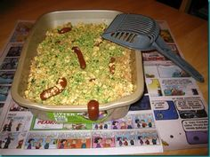 This is not Kitty Litter. This is Kitty Litter CAKE. Less smelly, more tasty. If you can choke it down. I Love Food, Fun Food, Good Food, Kitty Litter Cake, Tasty, Favorite Recipes, Party Ideas, Sweets, Plates