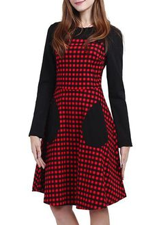 Red Plaid Patchwork Long Sleeve High Waist Dress on sale only US$37.74 now, buy cheap Red Plaid Patchwork Long Sleeve High Waist Dress at lulugal.com