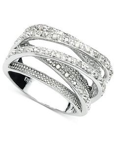 $49 ( Was $250 ) Victoria Townsend Diamond Ring, Sterling Silver Diamond Multi Row (1/2 ct. t.w.) - Rings - Jewelry & Watches - Macy's