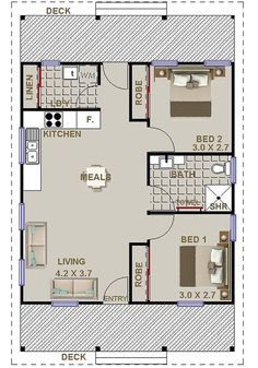 2 bedroom small home design Cottage House Plan SALE 59 m2