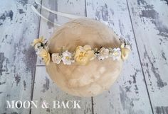 Lemon and Cream Spring Rustic Woodland Floral Crown Halo Tieback Newborn Baby Photography Photo Prop by MoonandBackProps on Etsy
