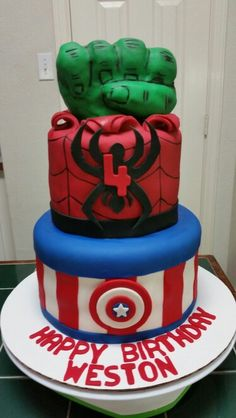 Amy's Crazy Cakes - Hulk, Spiderman and Captain America Cake