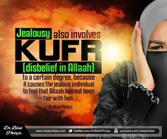 Jealousy also involves Kufr, (disbelief in Allaah) to a certain degree, because it causes the jealous individual to feel that Allaah has not been fair with him. He feels like he deserves more than what Allaah has given him and he forgets all the many blessings that Allaah has given him, without him even deserving them. Dr Bilal