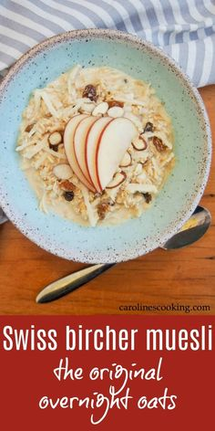 This delicious Swiss bircher muesli (the original overnight oats) makes a great start to your day - fresh, healthy and a lovely balance of smoothness & crunch. It's quick and easy to make, and is easily made dairy-free. Easy To Make Breakfast, Free Breakfast, Healthy Breakfast Recipes, Brunch Recipes, Healthy Recipes, Breakfast Ideas, Supper Recipes, Healthy Breakfasts, Delicious Recipes