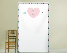 Personalized Heart and Arrow Design Photo Backdrop