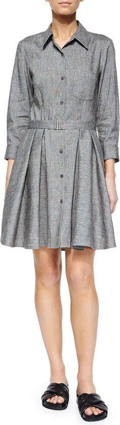 Theory Jalyis Sharkskin Crunch Shirtdress, Black/Ivory