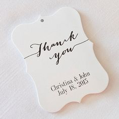 24 personalized Wedding Thank You Tags.    Personalized wedding tags with your names, date and wedding colors. There are 24 Customized Wedding