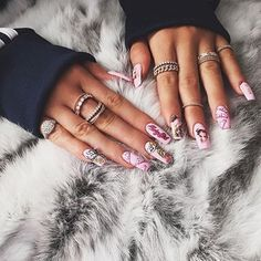 by @kyliejenner #nails #barbie #luxury #pink #ring