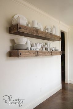 DIY Floating Shelf Plans and tutorial by Shanty2Chic!
