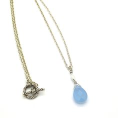 "Grace is a 17"" Long Sterling Silver Chain Necklace With Toggle and Rice Bead and a Beautiful Soft Blue Chalcedony Briolette. Product #15-051"