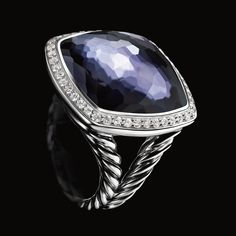 Albion ring with Black Orchid (lavender amethyst over hematine) and diamonds.