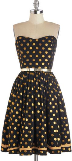Modcloth Gold Well Fancy That Dress