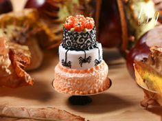 Spiders and Swirls - Beautiful Three Tiered Cake Decorated for Autumn / Fall / Halloween - 12th Scale Miniature Food