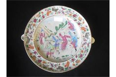 Chinese famille rose warming dish with figure on horseback and attendant courtiers before a lady