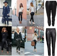 The leather sweatpants, leather trousers, loose fit, celebrities, leather jogging trousers, pleather pants, leather look, trend, www.byjenni.dk
