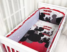 42.80$  Watch now - http://aliz8t.shopchina.info/go.php?t=32521185343 - Promotion! 6PCS Mickey Mouse cotton baby cot bedding sets for crib baby pillow bumpers,include(bumpers+sheet+pillow cover)  #buyonline