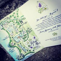 Save the Date or Wedding Invitation Watercolor and Calligraphy Map Booklet design and prints on Etsy, $8.20