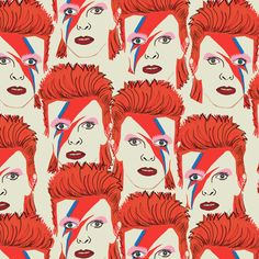Ziggy Stardust, Glam rock, David Bowie, creme custom printed fabric at spoonflower Glam Rock, Textile Patterns, Textiles, Print Patterns, Custom Printed Fabric, Printing On Fabric, Retro Vintage, Collages, Illustration Art