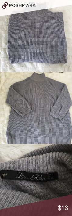 Zara Sweater Gray Zara Turtleneck Sweater with 3/4 sleeves.  Very cute with Jeans and boots.  Great condition. Size L Zara Sweaters Cowl & Turtlenecks