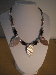 Genuine Mother of pearl Brown Leaf necklace on Etsy, $13.75