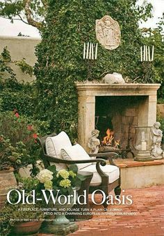 courtyard with fireplace garden design Room yard Outdoor Rooms, Outdoor Gardens, Outdoor Living, Indoor Outdoor, Outdoor Decor, Outdoor Kitchens, Porches, Backyard Fireplace, Outdoor Fireplaces