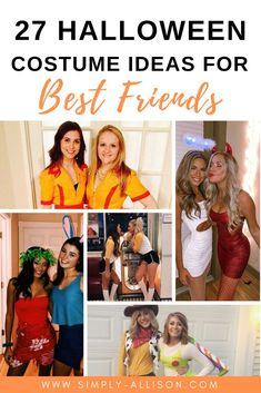 I love all of these cute Halloween costumes for best friends. Whether it's just the two of you or three of you you will find something on this list. If you and your friends love Disney I'm sure that you're going to love number 3. I know I am definitely going to share some of these ideas with my best friends.   #halloween #halloweencostumeideas #halloweencostumes Best Friend Halloween Costumes, Halloween Makeup, Diy Halloween Games, Halloween Decorations, Halloween Party, Halloween Nails, Halloween Face Mask, Outdoor Halloween, Halloween Projects