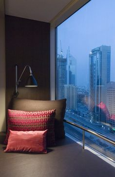 Window Leather Seating in Deluxe Rooms. Towers Rotana, Dubai, UAE.