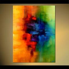 Original abstract art paintings by Osnat - yellow red blue and green abstract art #abstractart
