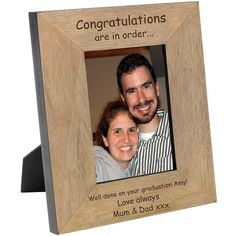 Engraved Congratulations are in Order Solid Oak Photo Frame :: Engraved with your own personal message - Fast UK Delivery. Personalized Photo Frames, Personalised Gifts, Engraved Gifts, Wood Photo, Bride And Groom Gifts, Civil Ceremony, Better Love, Engagement Gifts, Graduation Gifts
