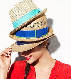 Straw fedoras are everywhere this summer. We love the colored bands on these three. Perfect for July Fourth! Hats top to bottom: Scala Pronto, $27. San Diego Hat Co., $54. Hat Attack, $74. Dress, Old Navy, $30.