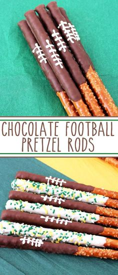 Chocolate Football Pretzel Rods – sweet and salty, dark and white chocolate dipped pretzel rods. A delicious game day treat that screams team spirit! #football #chocolate #chocolatefootballpretzelrods #footballfood #chocolatepretzelrods #footballpretzelrods #footballsnacks #footballdesserts #superbowlfood #superbowlsnacks #superbowldesserts #superbowl #gamedayfood #gamedaysnacks #gamedaydesserts #gbpackerspretzelrods via @SarahsBakeStudio Chocolate Dipped Pretzel Rods, Chocolate Footballs, Pretzel Dip, Superbowl Desserts, Football Snacks, Tailgating Recipes, Trifle Desserts, Fun Desserts, Delicious Desserts