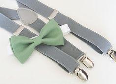 Sage green bow-tie & Light gray elastic suspender set, Adjustable neck strap and suspender, suspender and bow tie