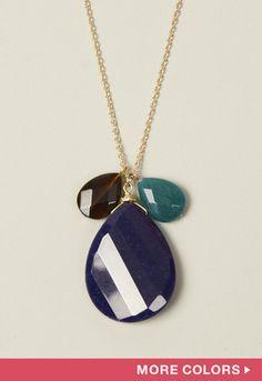 Triple Stone Pendant Necklace
