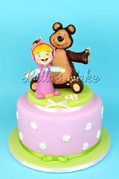 Masha and The Bear - Cake by Lalla's Cake Bear Birthday, Disney Birthday, Birthday Cake, Torta Baby Shower, Marsha And The Bear, Baby Girl Cakes, Torte Cake, Bear Party, Fashion Cakes