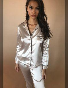 Meshki silk pijama top on Mercari Pyjama Satin, Pink Satin Dress, Satin Sleepwear, Satin Pajamas, Satin Dresses, Womens Pyjama Sets, Satin Lingerie, Long Sleeve Pyjamas, Satin Blouses