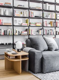 Loft living space with a wall of open bookshelves, a gray sofa, and a concrete table lamp