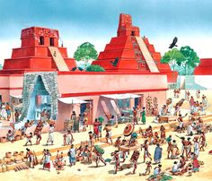 """A Maya city with a stepped pyramid"""